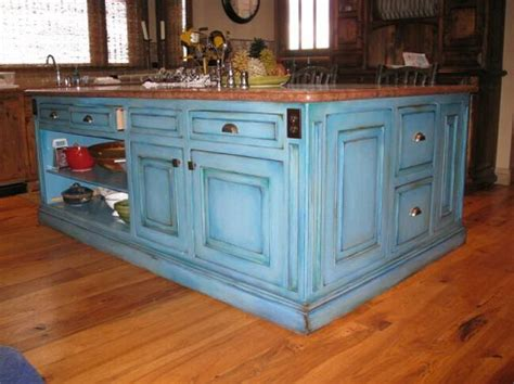 Blue Distressed Kitchen Cabinets by Incorporating Kitchen Cabinet Paint Colors Into Your