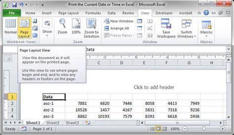 excel button layout print the current date or time in excel teachexcel com