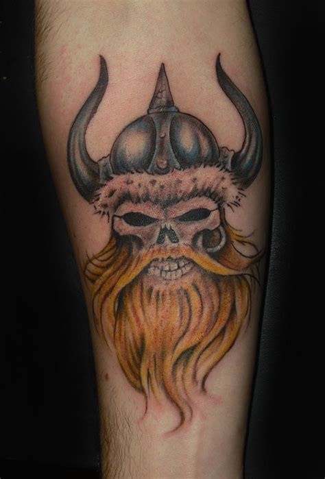 bearded skull tattoo viking skull with a beard in a horned helmet