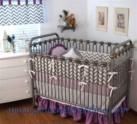 Purple Chevron Crib Bedding Grey Chevron And Lilac Crib Bedding Purple Lilac In The Nursery