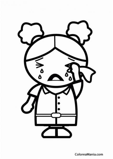 Imagenes Llorando Niños | colorear nia con coletas llorando desconsolada expresin y