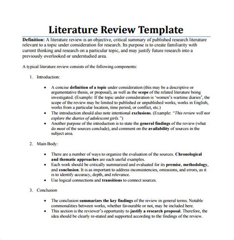 literature review template critical literature review template
