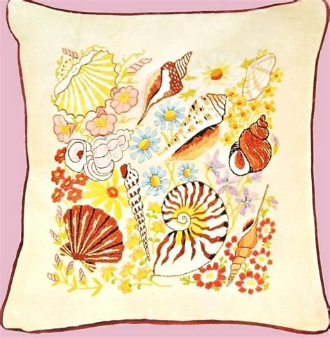crewel pillow kits vintage crewel bucilla seashells flowers pillow kit ebay