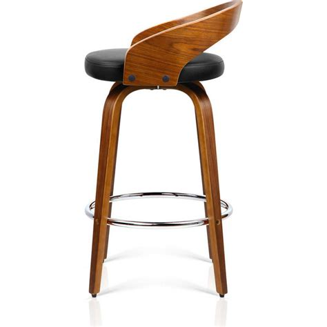 Wood And Leather Bar Stools 2x Faux Leather Wood Rail Bar Stool Walnut Buy Wooden