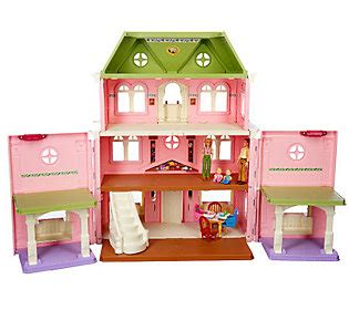 fisher price grand doll house fisher price loving family grand dollhouse w family accessories qvc com