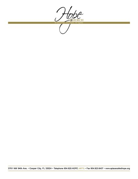 free church letterhead templates free printable letterhead