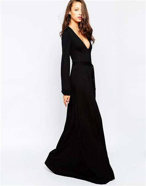 Inez Maxi 04 lyst taller than your average ttya plunge bell sleeve wrap maxi dress in black
