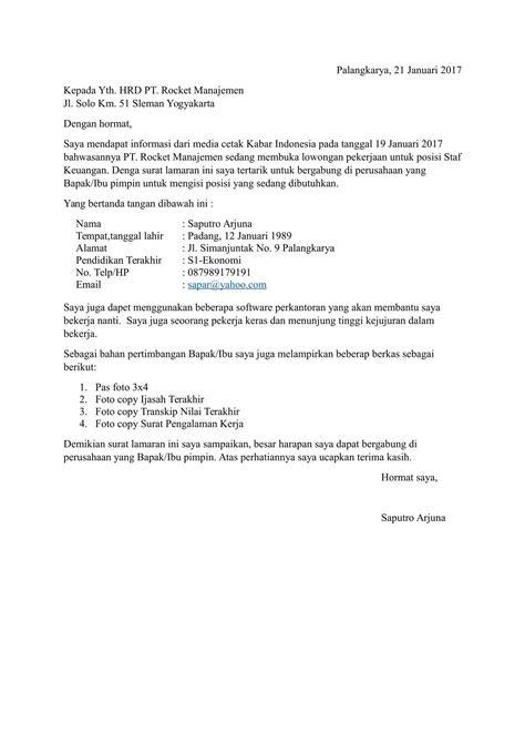 contoh surat lamaran kerja terbaru