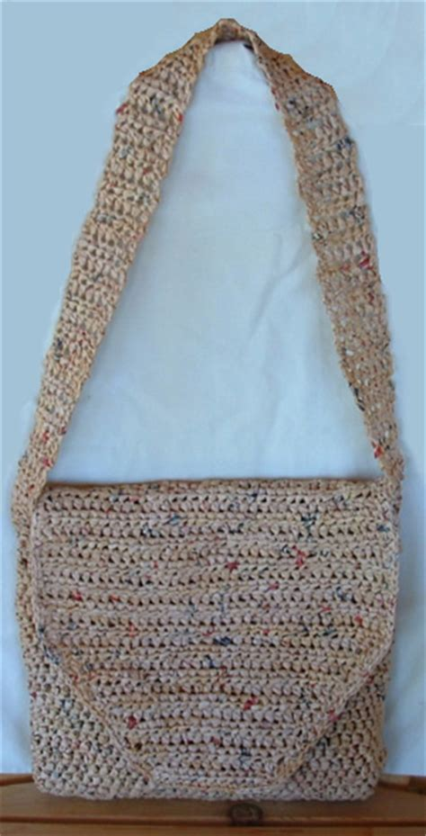 crochet patterns messenger bags free messenger bag crafted from plastic bags my recycled bags com