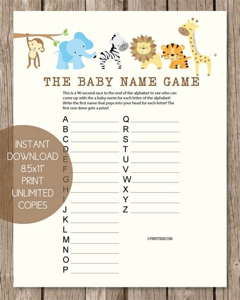 theme names for games printable baby shower name game baby shower names a to z