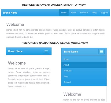 responsive top bar create responsive navigation menu bar with twitter bootstrap 3