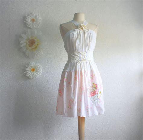Shabby Chic Pink White Dress Cream Corset Belt Women S Shabby Chic Attire