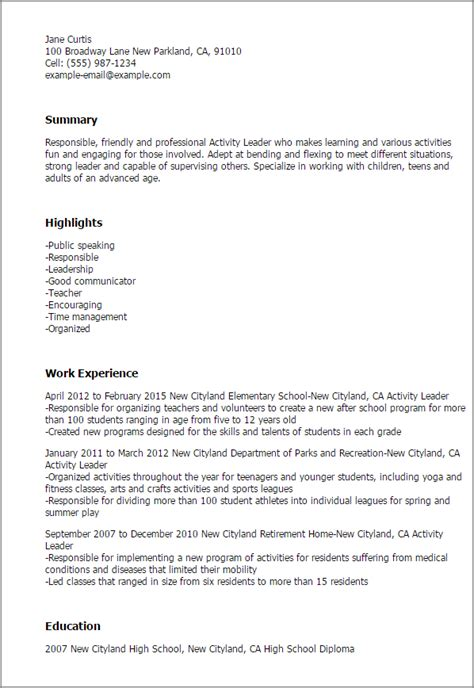 Resume Activities professional activity leader templates to showcase your