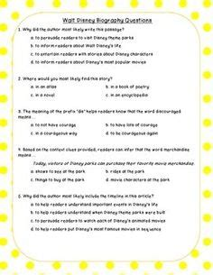 biography comprehension text walt disney biography close reading passage and questions