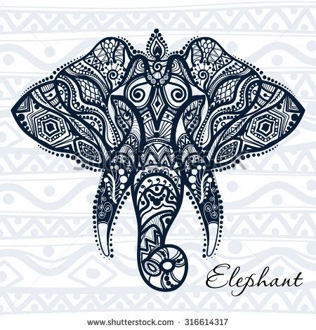 pattern drawing indian vector indian decorative elephant on henna stock vector