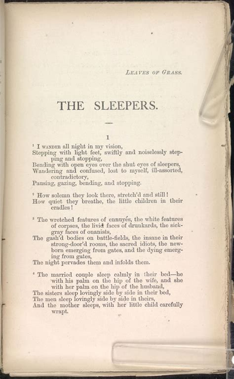 Walt Whitman Sleepers by The Sleepers Leaves Of Grass 1871 72 The Walt