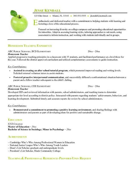 exles of resume for teachers resume exles substitute resume summary