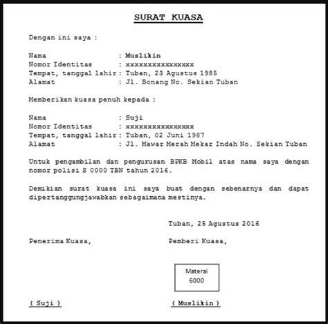 contoh surat kuasa lengkap 4d1jonk medium contoh surat kuasa blokir kendaraan kotasurat com