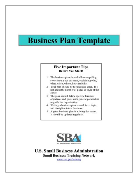 sba business plan template small business plan template
