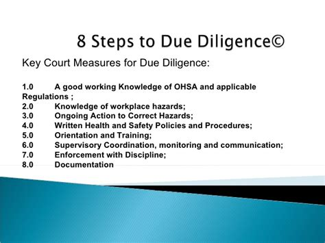 ohsa section 25 8 steps for hs due diligence plus electrical accident