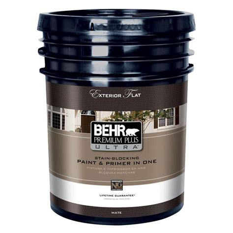 behr premium plus ultra 5 gal medium base flat low voc exterior paint 2485405 the home depot