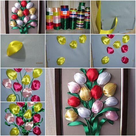 creative ideas diy and ribbon diy colorful satin ribbon tulips