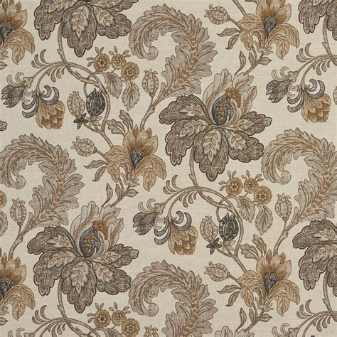 floral print upholstery fabric beige coral and brown floral and foliage print linen