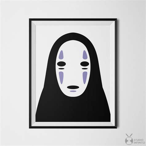 No Face Spirited Away Poster Kaonashi Print Faceless Mask No Mask Template