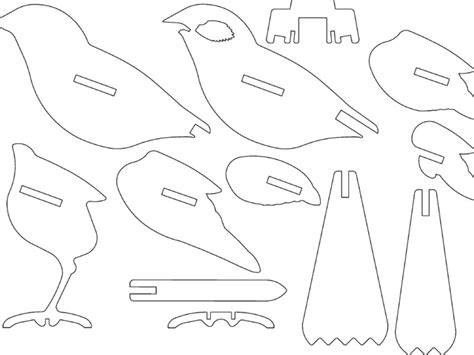 dxf templates bird ready for laser cutting or 3d printing by hexleyosx