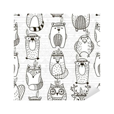 changing pattern of tribal livelihoods seamless pattern with tribal animals illustration