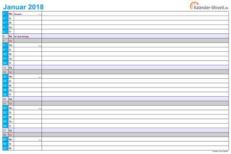Kalender 2018 Querformat Zum Ausdrucken Excel Kalender 2018 Kostenlos