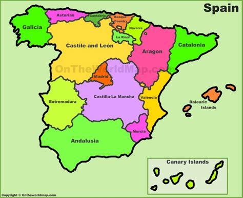 printable world map in spanish spain autonomous communities maps