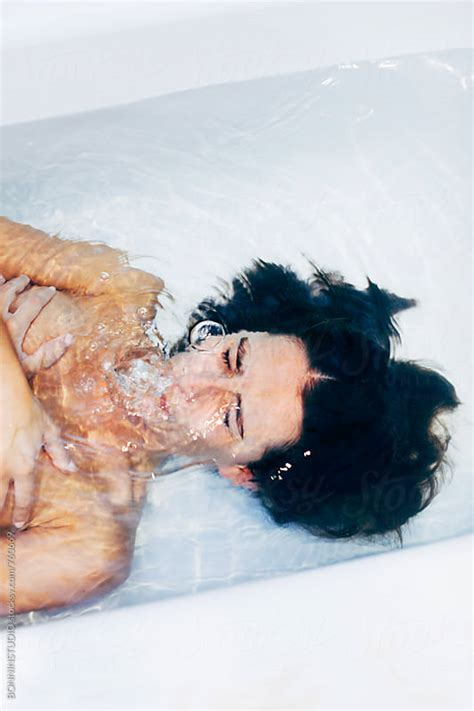 bathtub breath hold woman holding breath underwater in the bathtub by