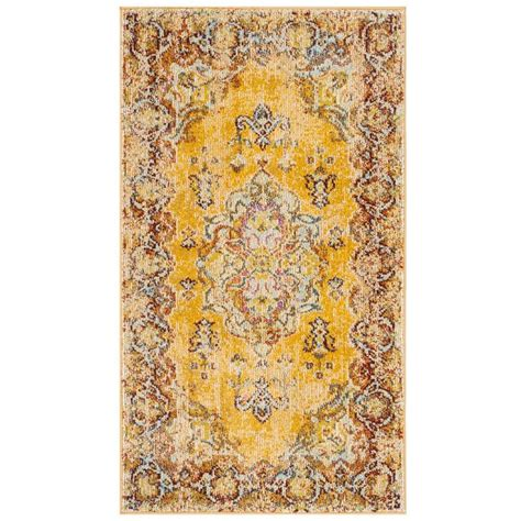 yellow throw rug shop safavieh yellow yellow indoor distressed throw rug common 3 x 5 actual 3 ft w