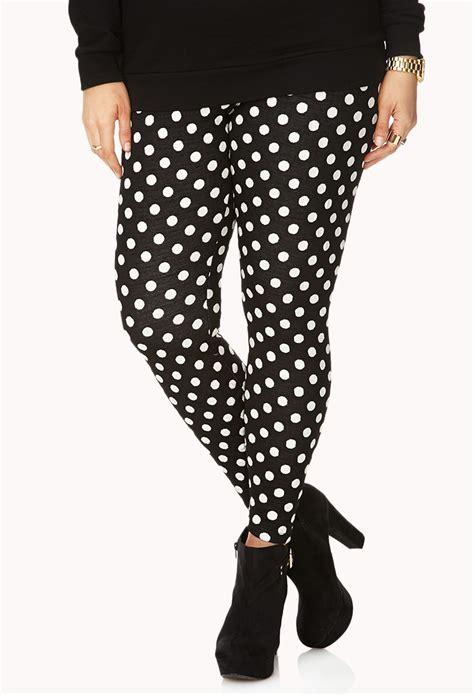 Legging Polkadot White lyst forever 21 standout polka dot in black