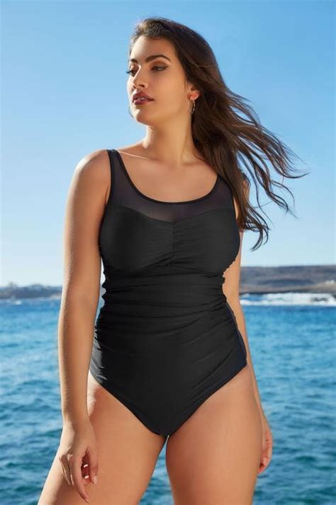Mesh Panel Swimsuit by Black Mesh Panel Swimsuit Plus Size 16 To 32
