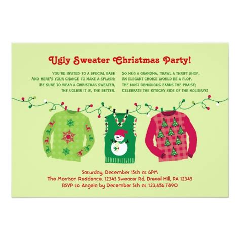ugly sweater christmas party invitation zazzle