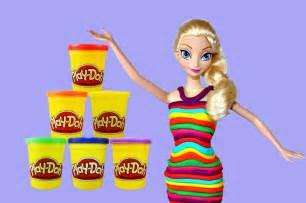 Elsa disney frozen barbie play dough dress makeover rainbow elsa dress