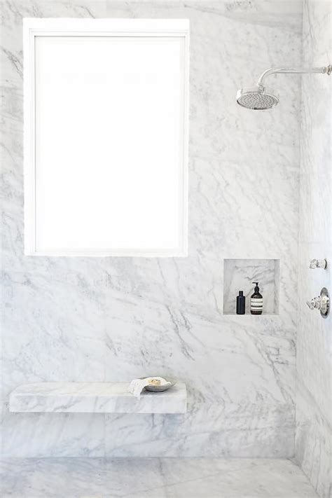 Marble Bathroom Showers Shower With Floating Marble Bench Transitional Bathroom