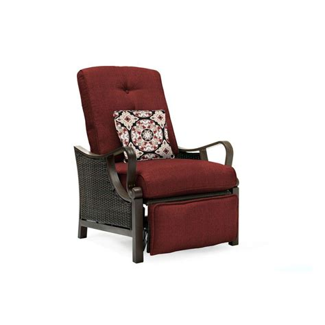 Patio Recliner Chairs Hanover Ventura All Weather Wicker Reclining Patio Lounge Chair With Crimson Cushions