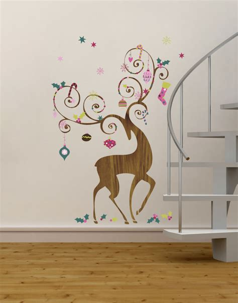 Holiday Wall Stickers ornamental reindeer giant holiday wall decals
