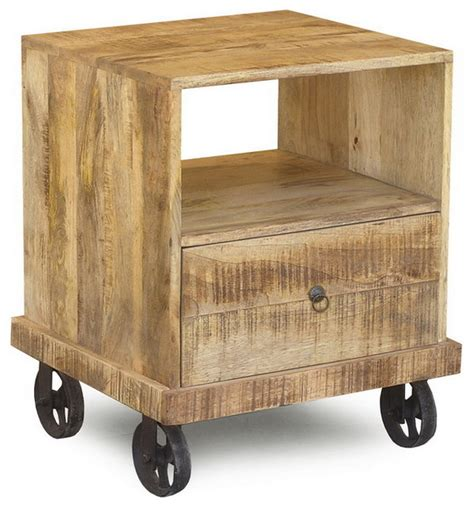 industrial end table with wheels eclectic side tables