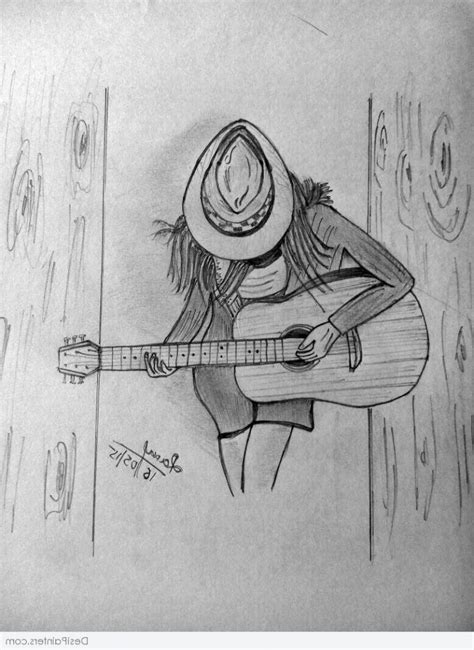 Sketches And Drawings by Pencil Sketches Sketches Of With Guitar