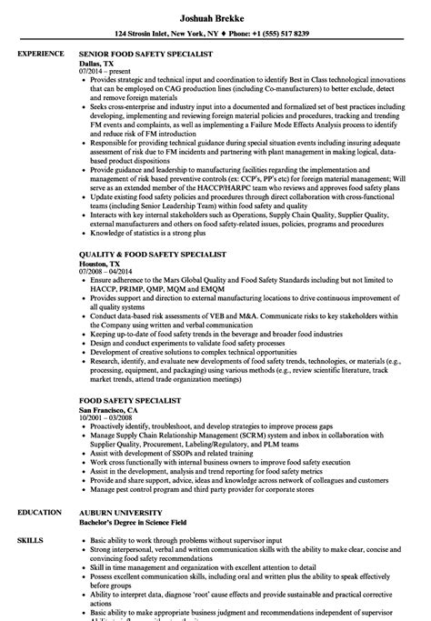 Food Safety Specialist Sle Resume by Food Safety Specialist Resume Sles Velvet