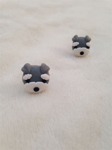 Handmade Polymer Clay - noirlu handmade polymer clay schnauzer earrings