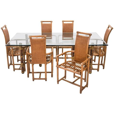mcguire rectangular glass and bamboo dining room table and