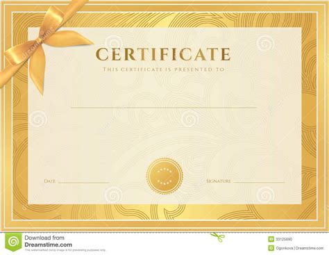certificate diploma template gold award pattern stock