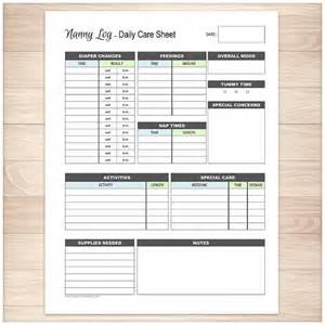 printable nanny log daily infant care sheet