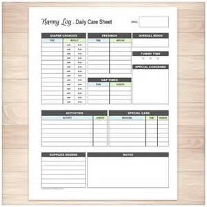 Nanny Log Sheet Templates printable nanny log daily infant care sheet