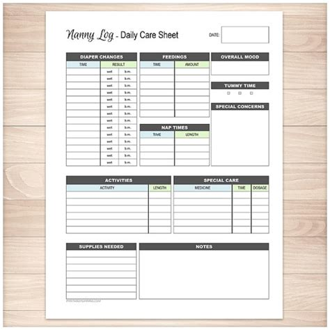 nanny daily log template printable nanny log daily infant care sheet